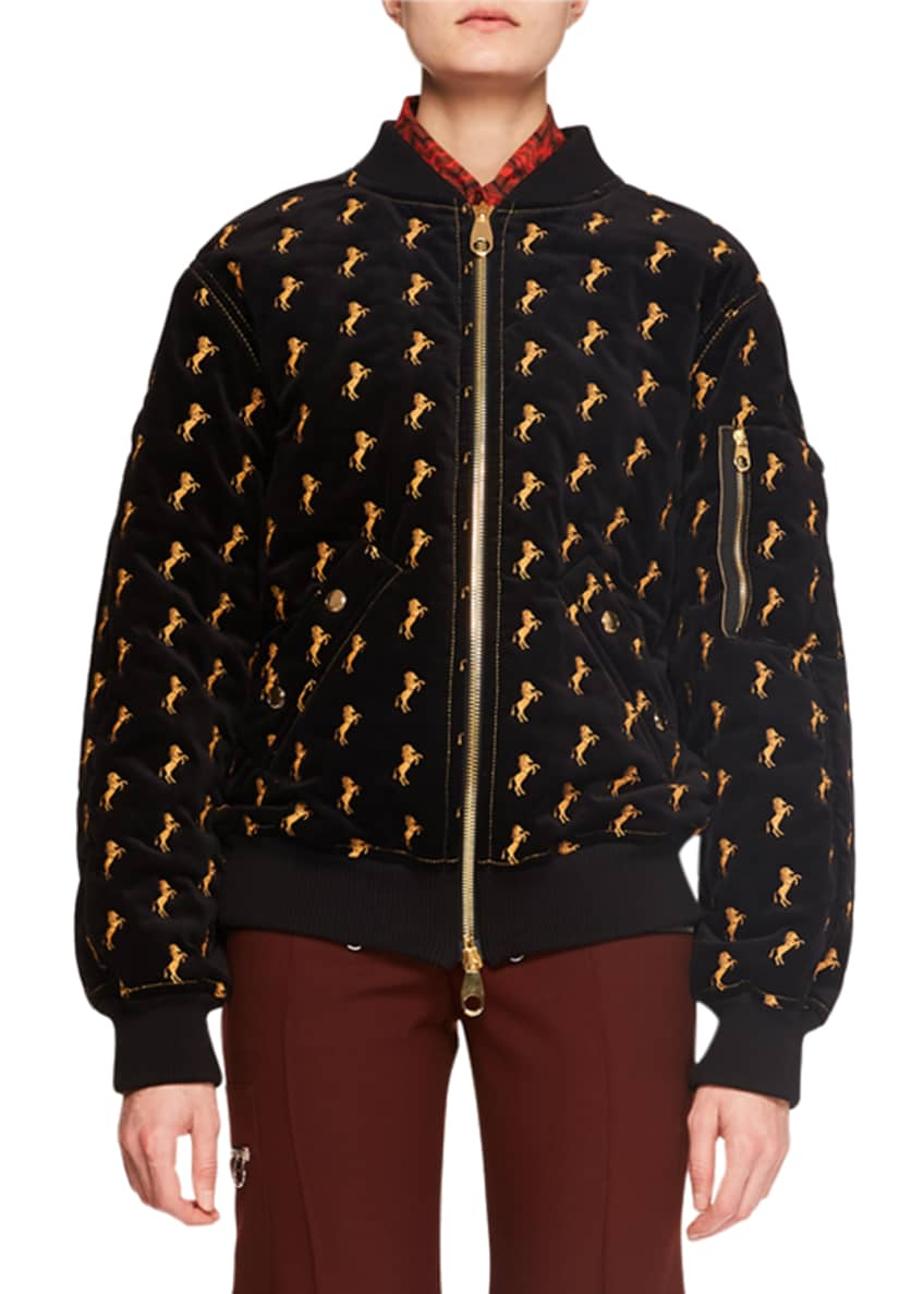 Chloe Zip-Front Horse-Embroidered Velvet Bomber Jacket & Matching