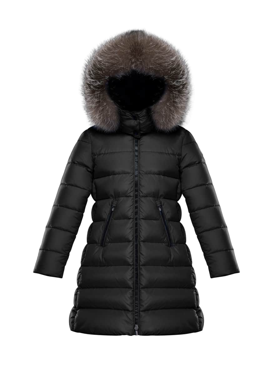 Moncler Abelle Quilted Puffer Coat w/ Fur Trim,