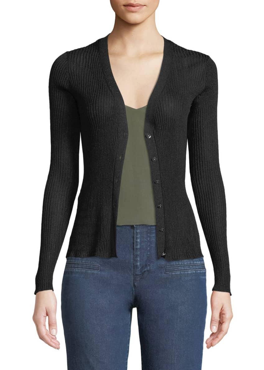 Altuzarra V-Neck Button-Front Metallic-Ribbed Cardigan Sweater &