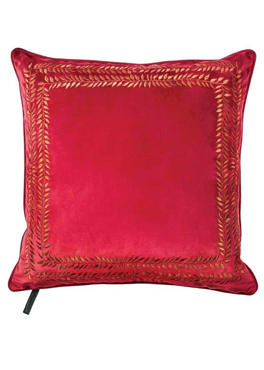 Jan Barboglio Valencia Embroidered Velvet Throw Pillow, Red