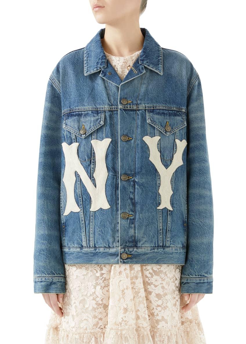 Gucci Stone-Washed Denim Jacket with NY Yankees MLB