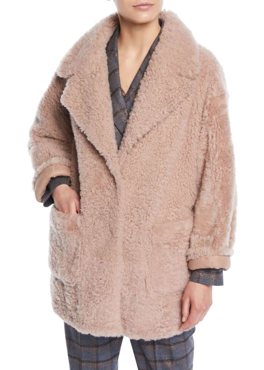 Brunello Cucinelli Curly Hair Shearling & Suede Reversible
