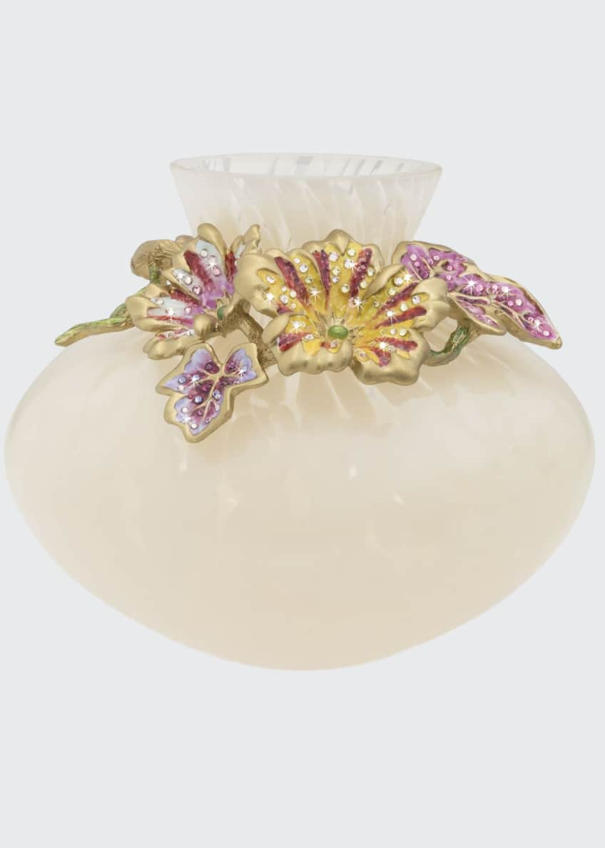 Jay Strongwater Flora Leaf and Flower Vase