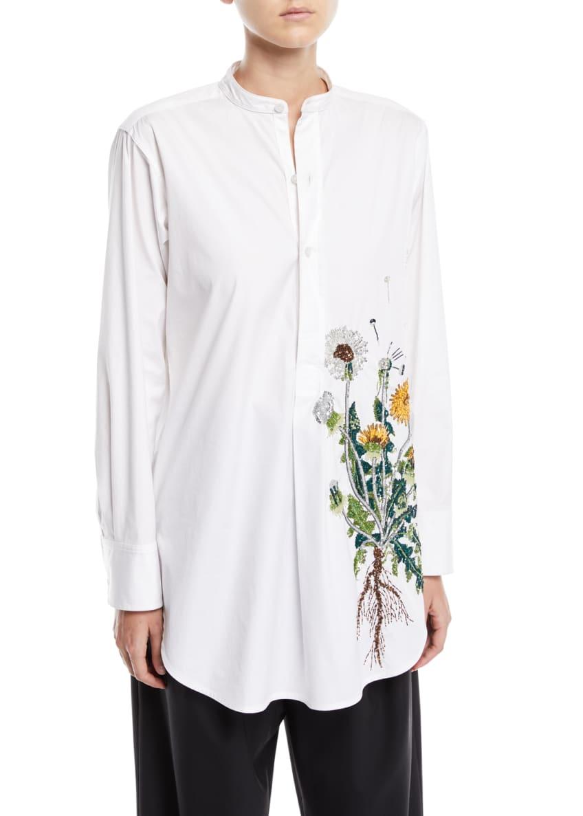 Oscar de la Renta Dandelion-Embroidered Long-Sleeve Pullover &