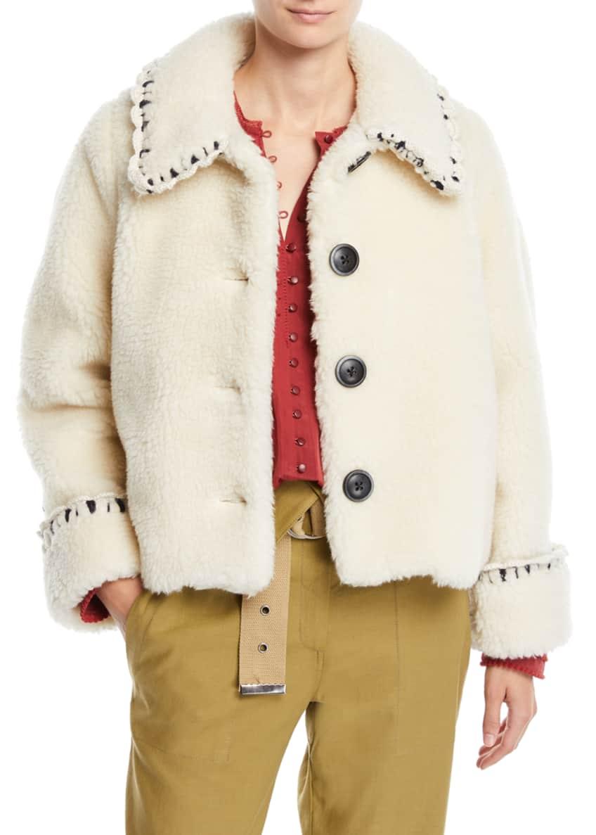 Sea Madeline Boxy Novelty-Stitch Faux-Fur Coat & Matching