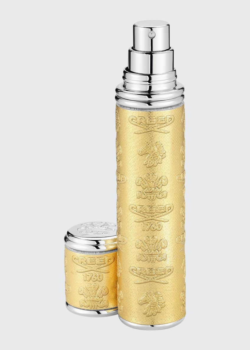 Creed Gold Leather Atomizer with Silver Trim, 10