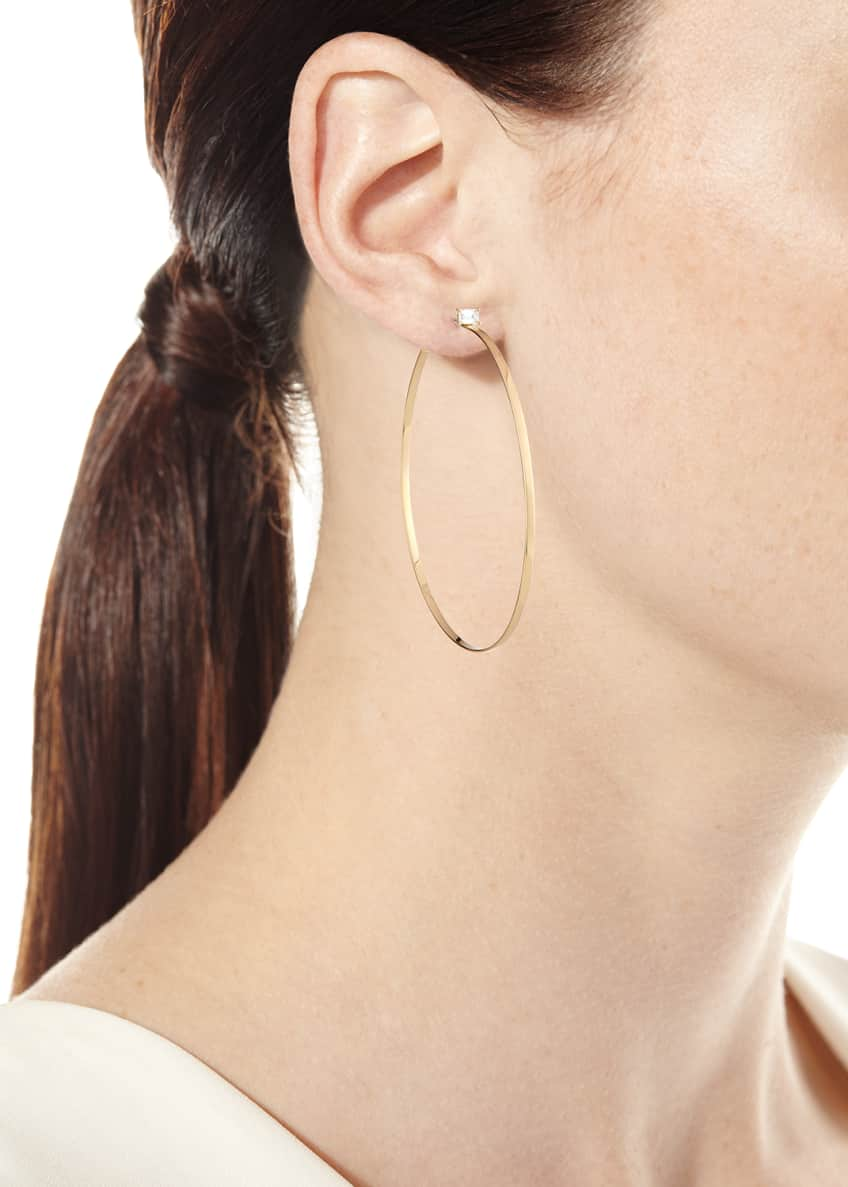 Image 2 of 2: 14k Gold Hoop Earrings with Emerald-Cut Diamond