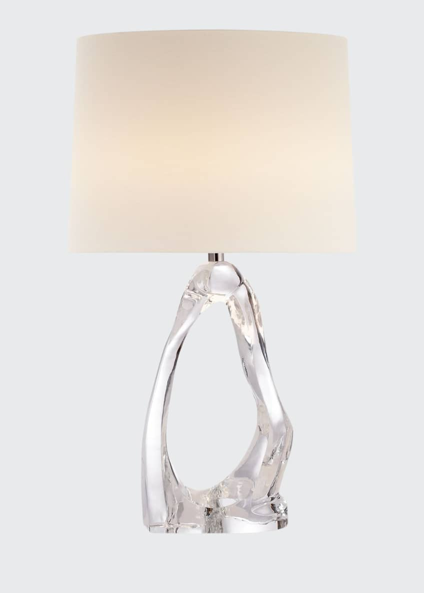 AERIN Cannes Clear Glass Table Lamp with Linen