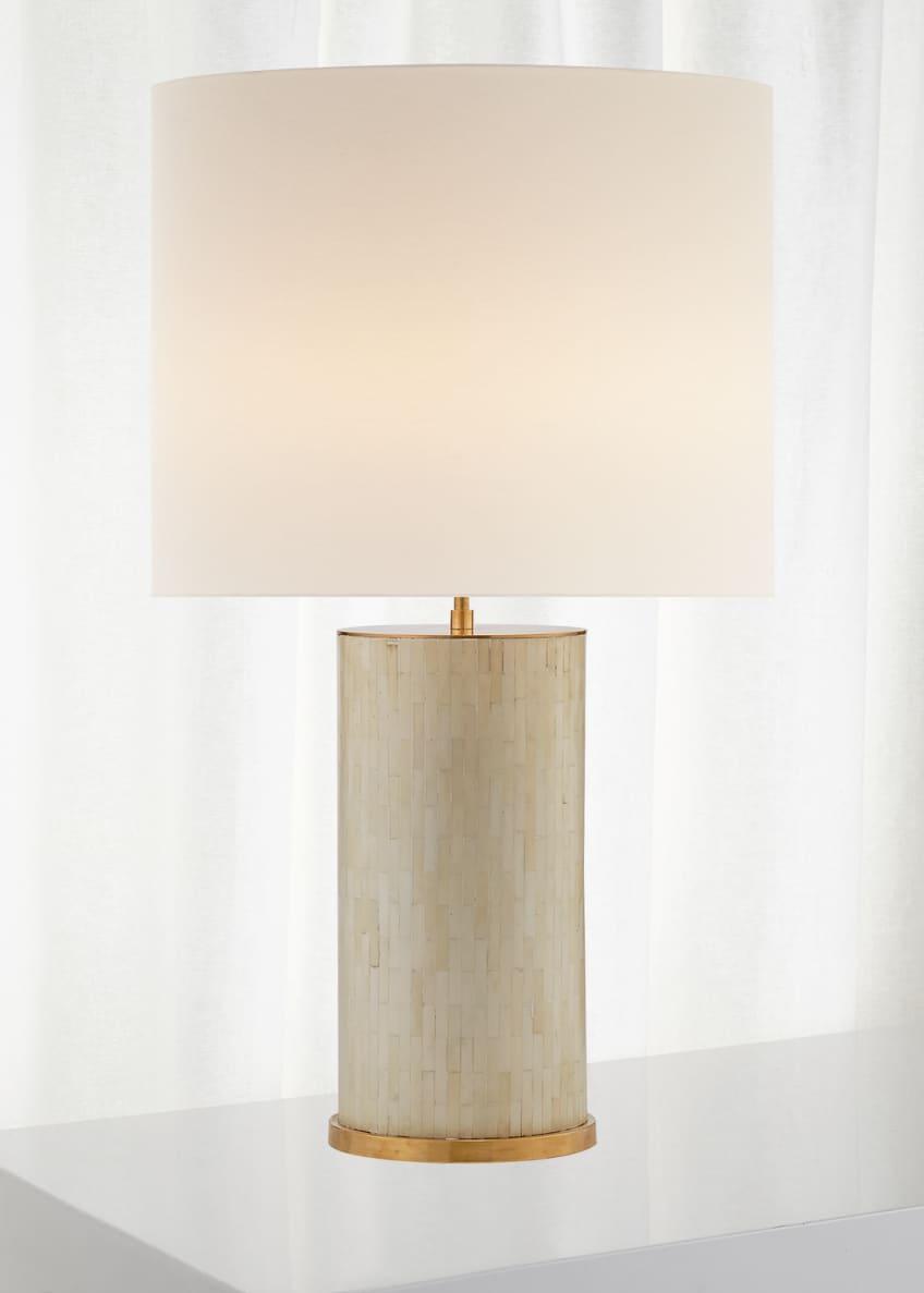 AERIN Eliot Bone Tile Table Lamp with Linen