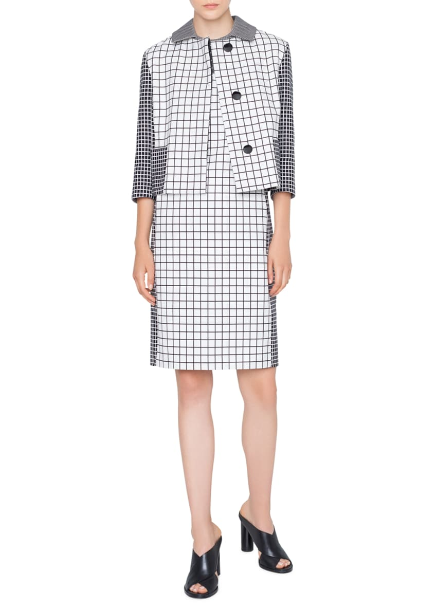 Akris punto 3/4-Sleeve Mixed-Grid Jacket & Matching Items