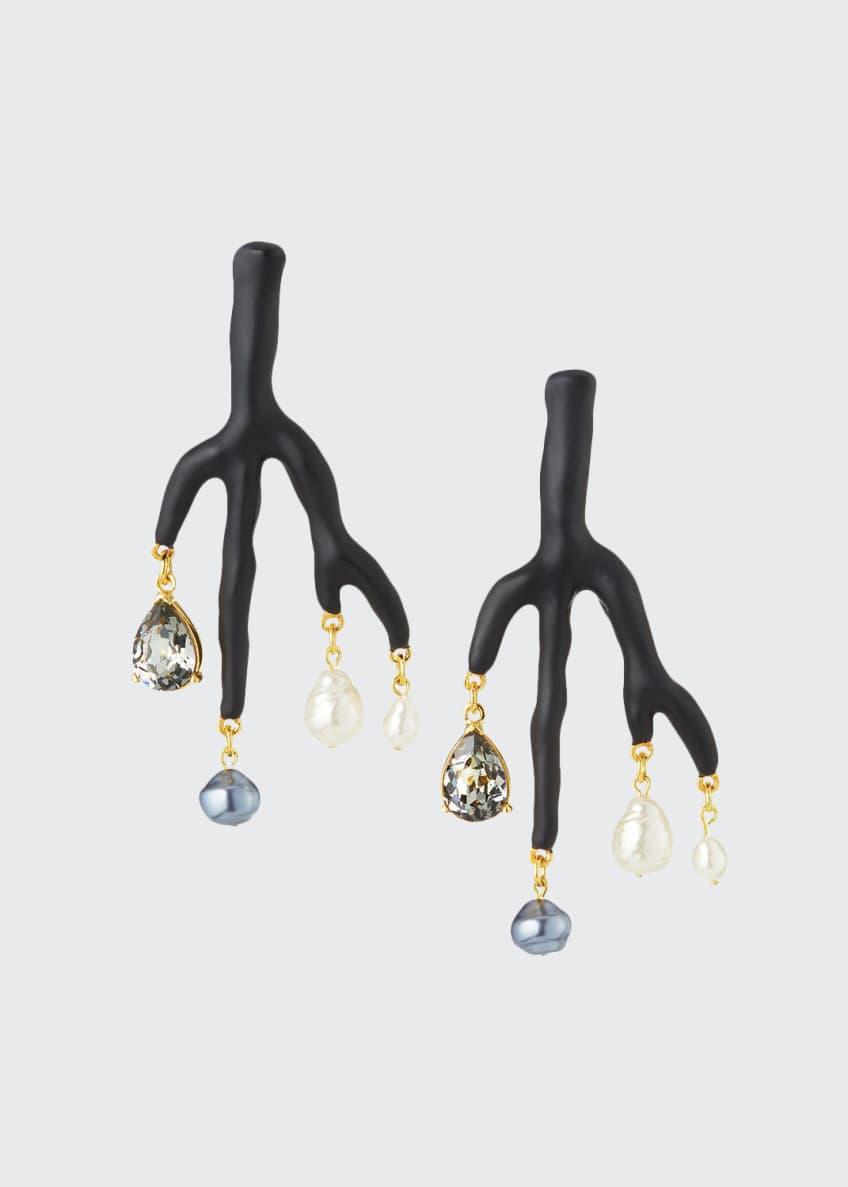 Oscar de la Renta Painted Branch Earrings