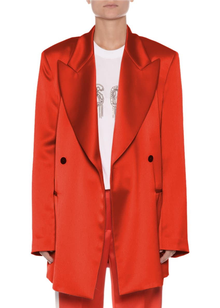 MSGM Oversized Double-Breasted Satin Blazer & Matching Items