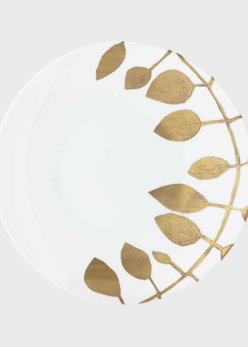 Image 1 of 1: Daphne White Gold-Leaf Dinner Plate