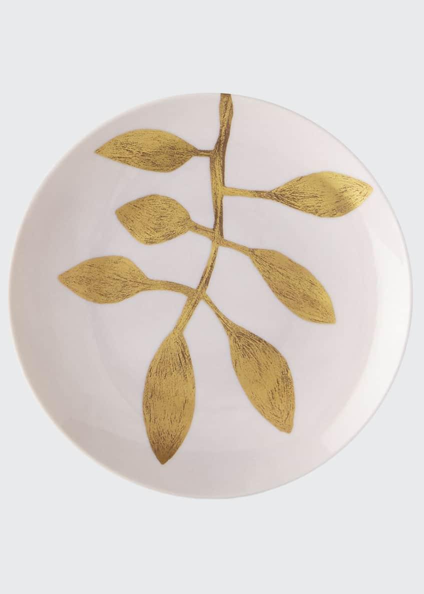 Haviland & Parlon Daphne Camelia Gold-Leaf Dessert Plate,