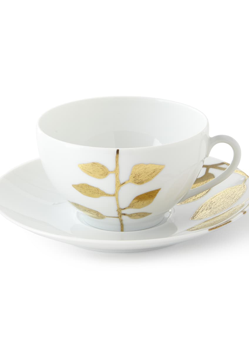 Image 1 of 1: Daphne White Gold-Leaf Breakfast Cup & Saucer