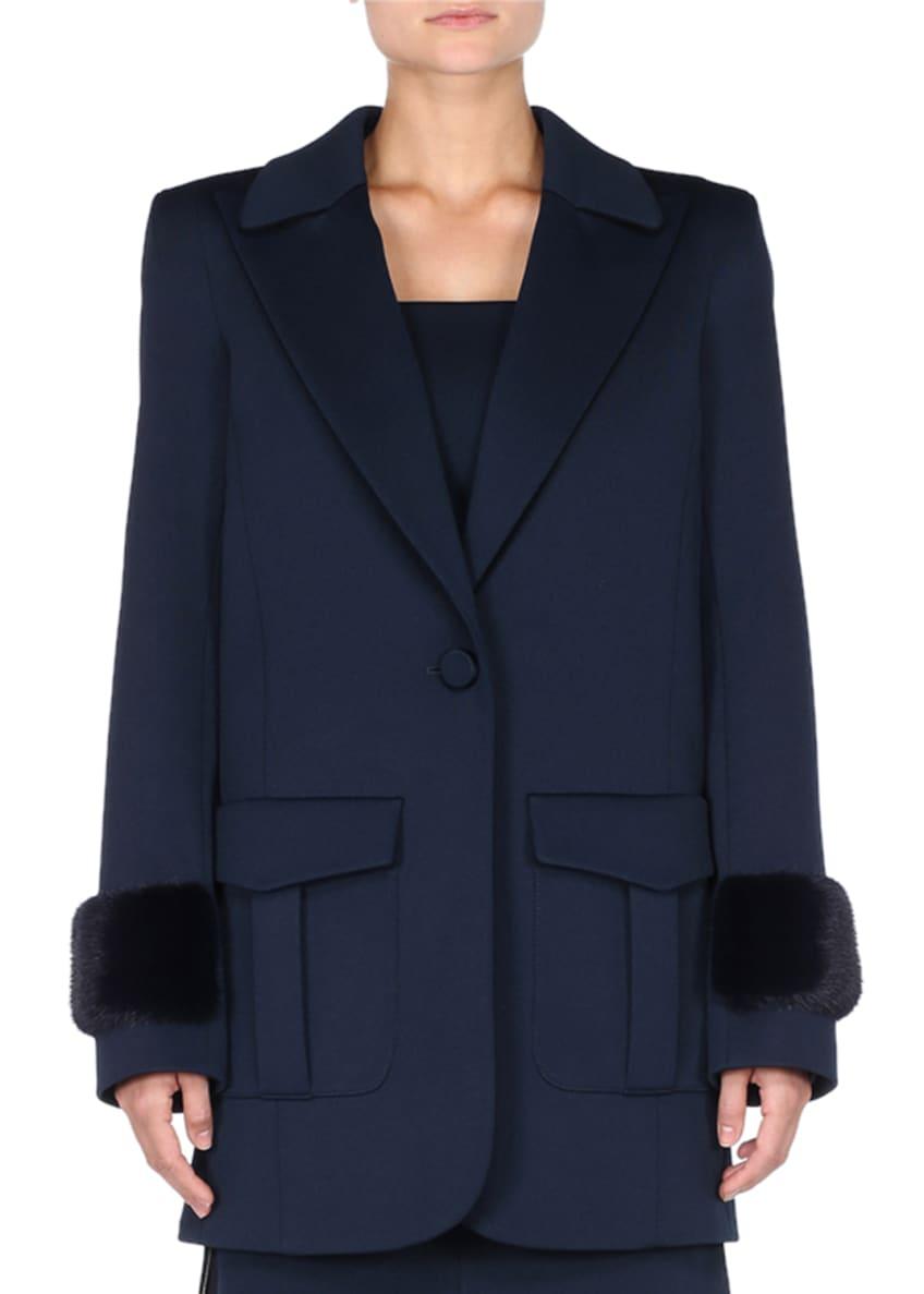 Fendi Flap-Pockets One-Button Straight-Cut Pique Jersey Coat w/