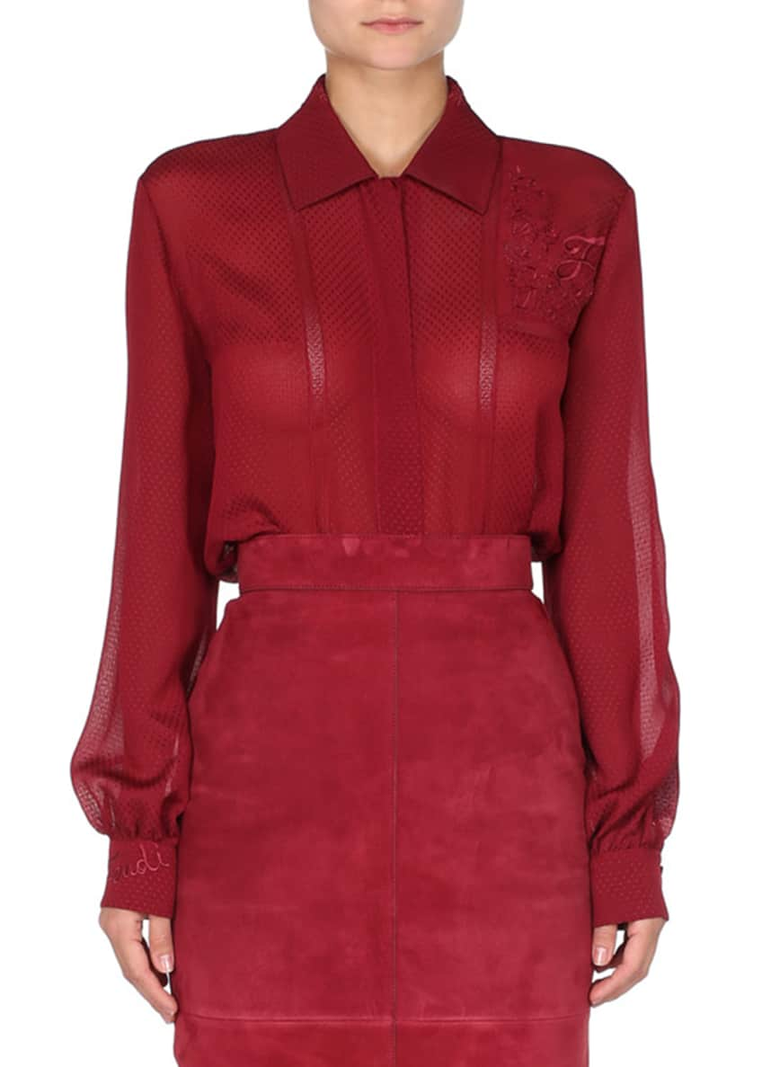 Fendi Button-Front Dotted Blouse w/Embroidery & Matching Items