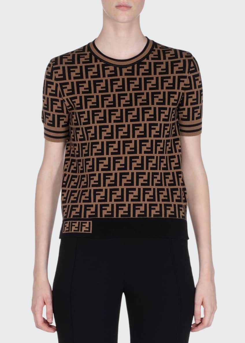 Fendi Crewneck Short-Sleeve FF Logo T-Shirt & Matching