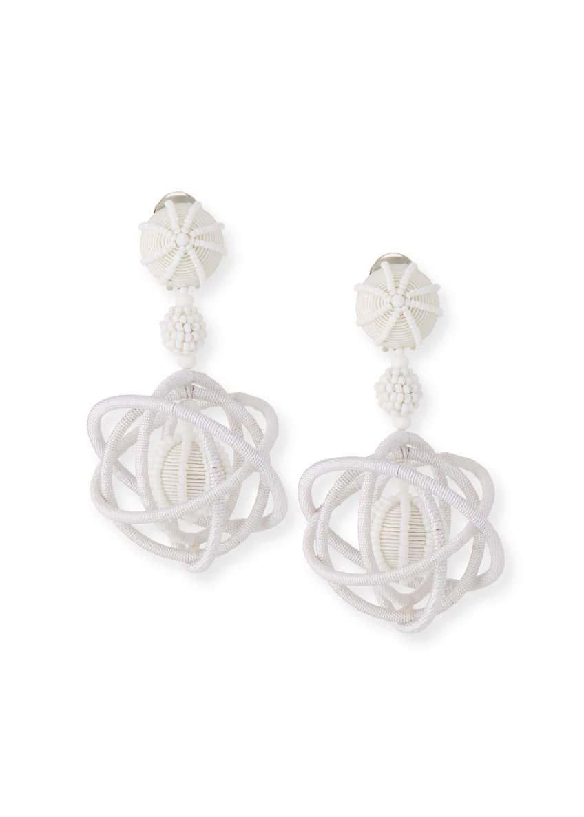 Oscar de la Renta Embroidered Globe Clip-On Earrings