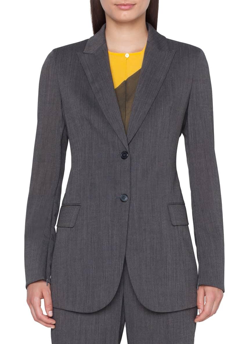 Akris Long 2-Button Cool Wool Crepe Jacket &
