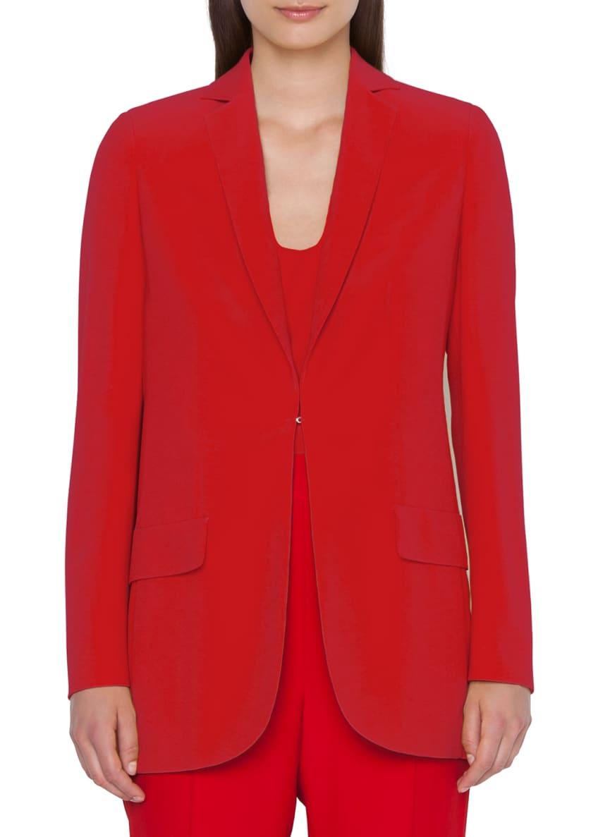 Akris Crepe Blazer Jacket with Elongated Lapel &
