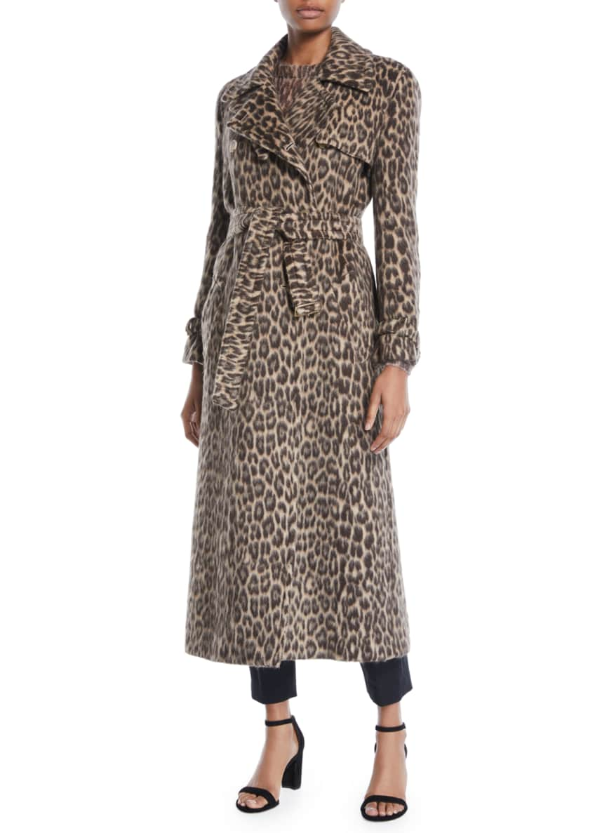 Maxmara Double-Breasted Leopard-Print Wool-Alpaca Trench Coat &