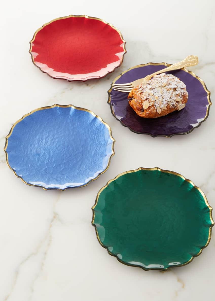 Vietri Assorted Jewel-Tone Glass Salad Plates, Set of