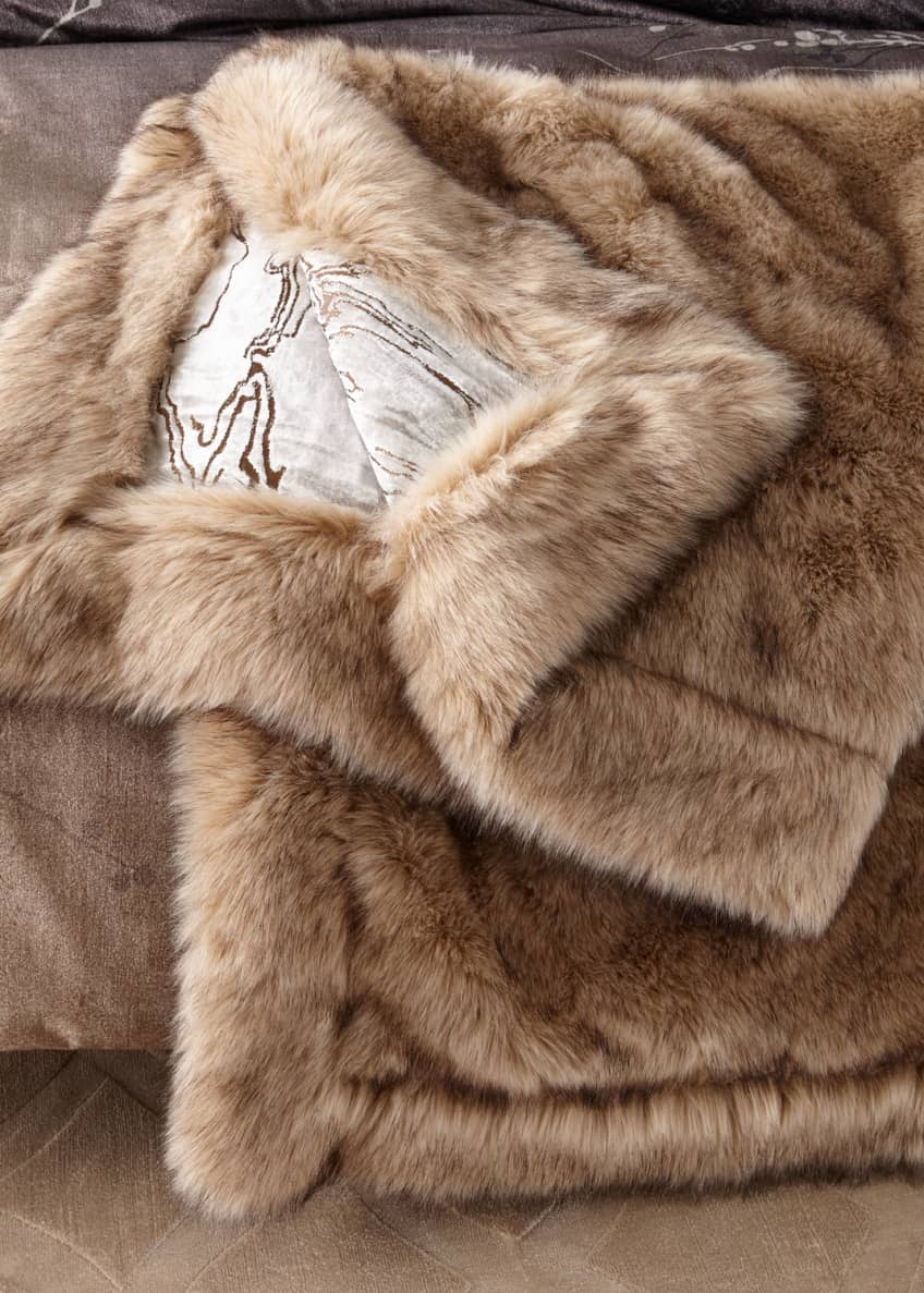 Image 1 of 1: Moire Faux-Fur Throw Blanket