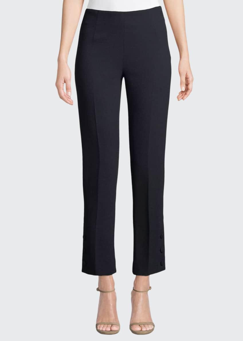 Lela Rose Tie-Sleeve Crewneck Stretch-Wool Top & Matching
