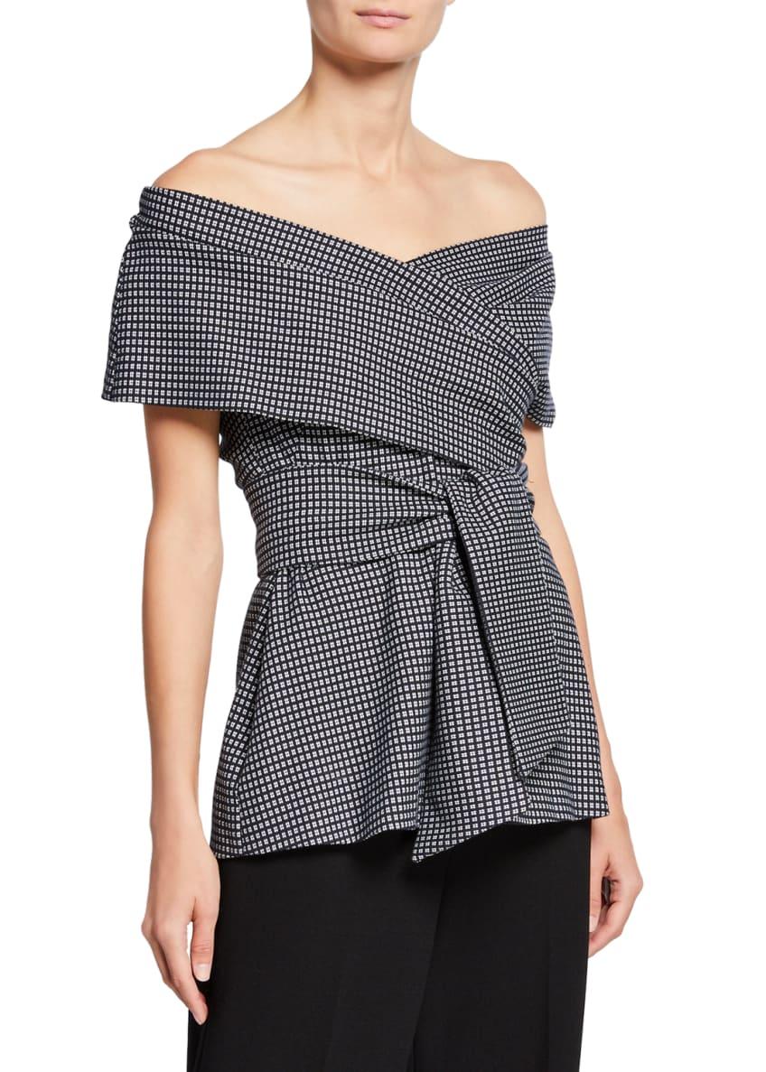 Lela Rose One-Shoulder Wrap-Tie Printed Peplum Top &