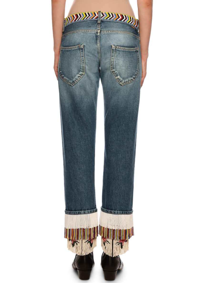 Image 2 of 5: Fringe-Beads Straight-Leg Boyfriend Jeans
