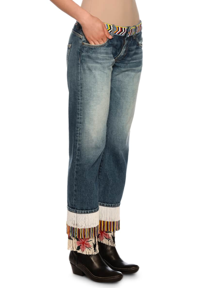Image 3 of 5: Fringe-Beads Straight-Leg Boyfriend Jeans