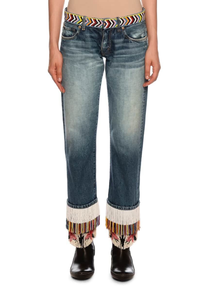 Image 1 of 5: Fringe-Beads Straight-Leg Boyfriend Jeans