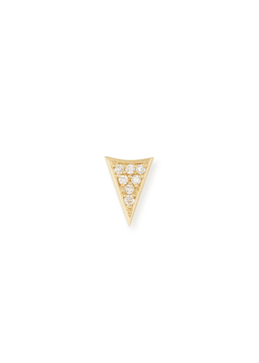 Image 1 of 2: 14K Gold Triangle Stud Earring with Diamonds
