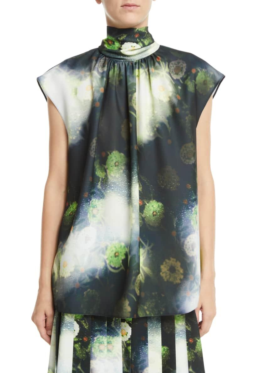 Prada Tie-Neck Cap-Sleeve Floral-Print Blouse & Matching Items