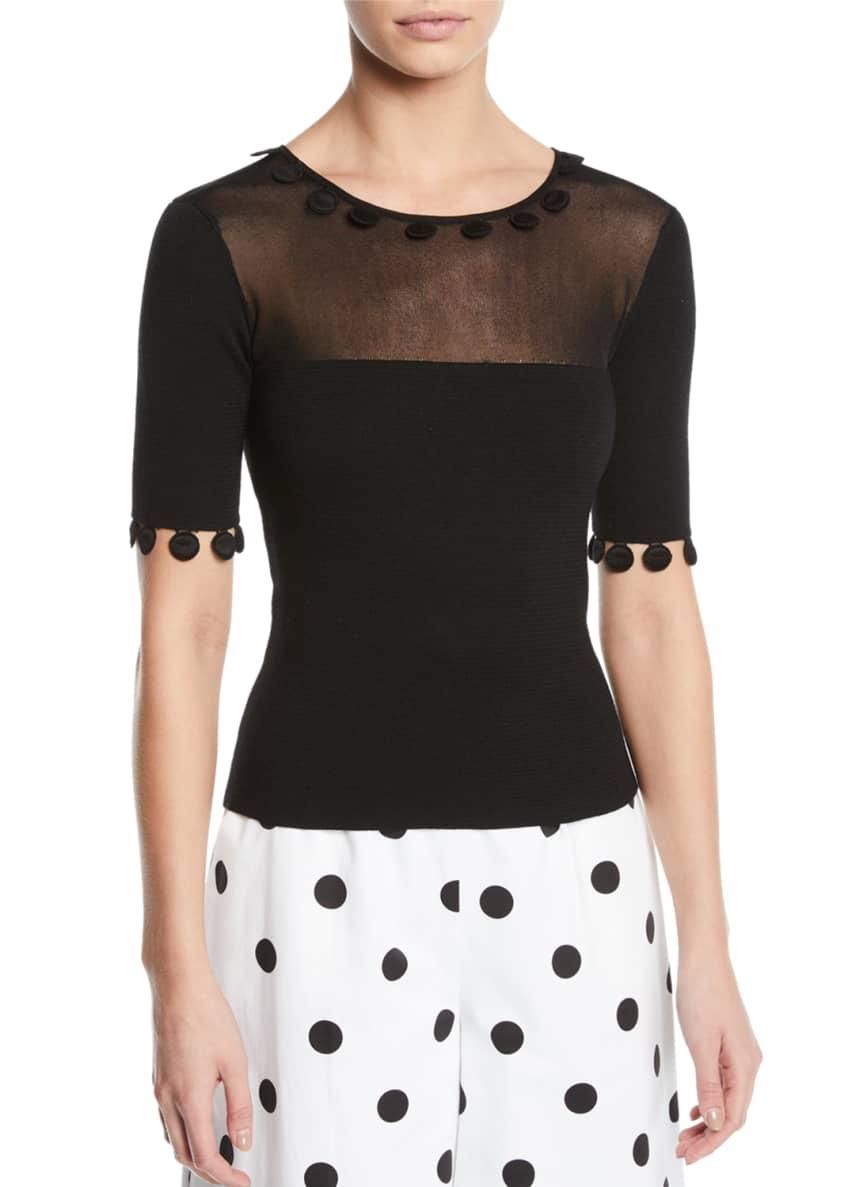Oscar de la Renta Dot-Applique Round-Neck Short-Sleeve Knit