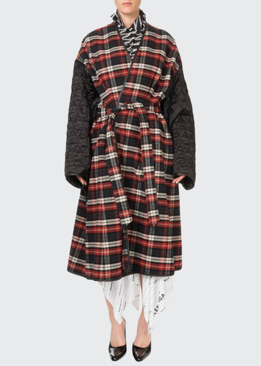 Balenciaga Quilted-Sleeve Flannel Cocoon Top & Matching Items