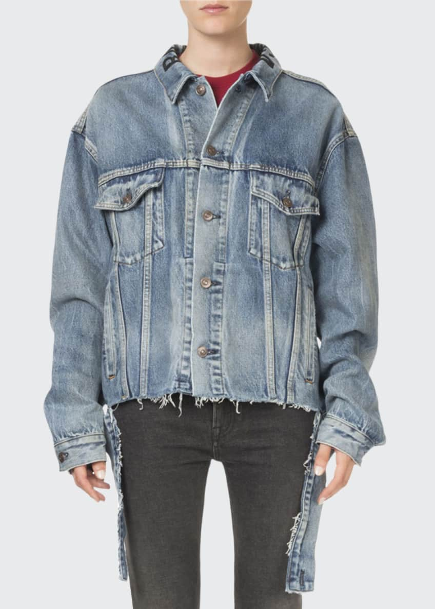 Balenciaga Oversized Vintage Cut-Waistband Denim Jacket &