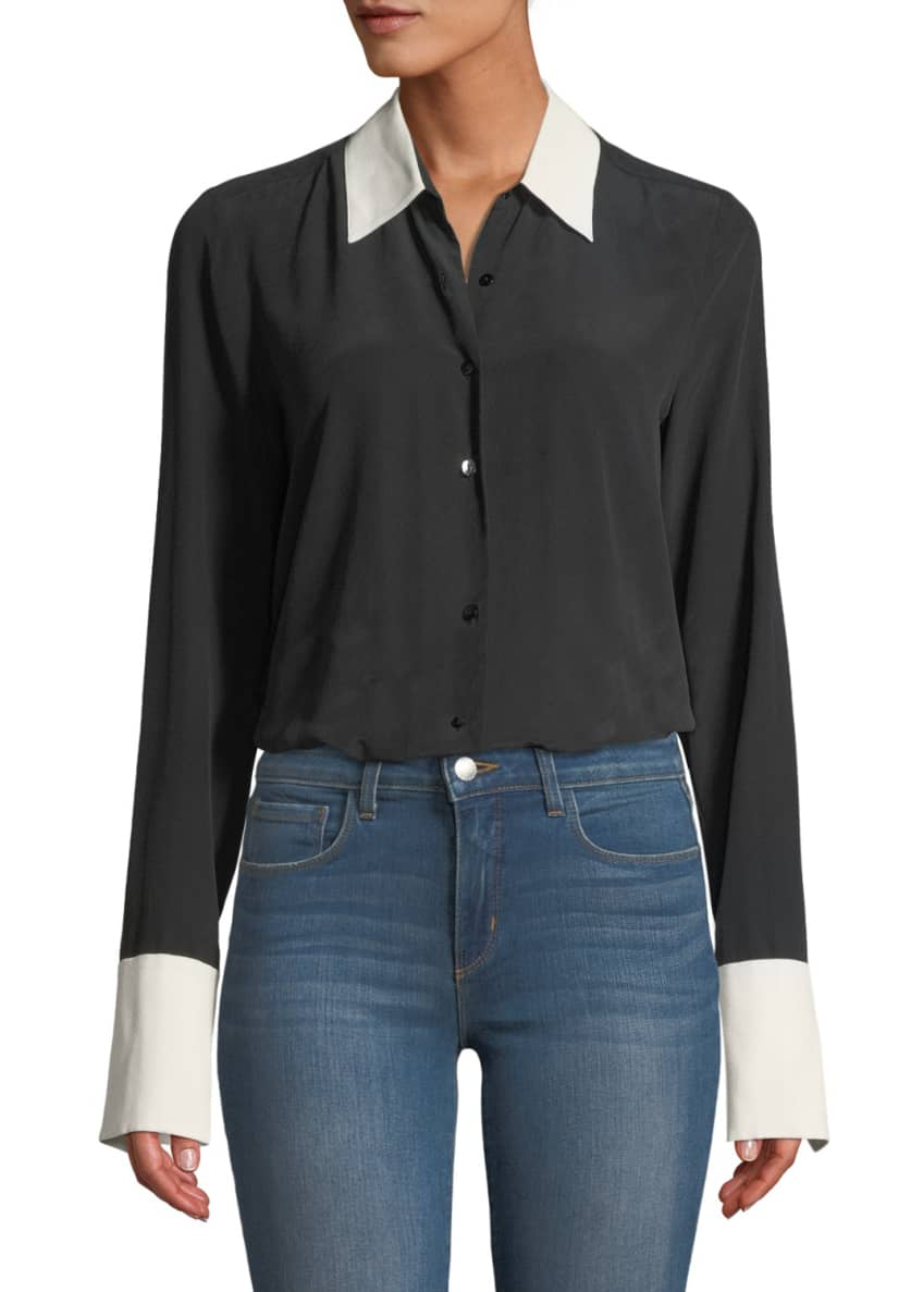 L'Agence Mia Cuffed Silk Button-Front Blouse & Matching