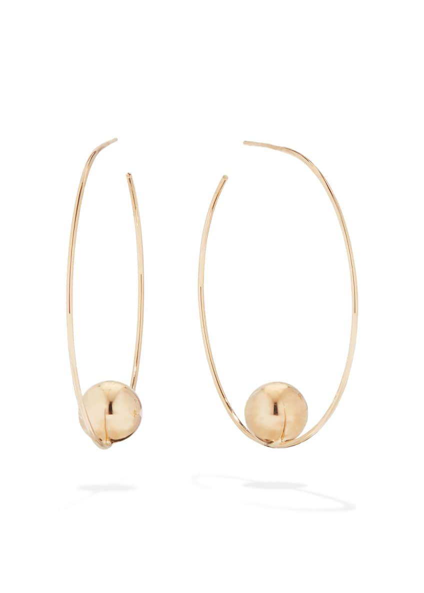 LANA 14k Gold Bead Hoop Earrings, 45mm