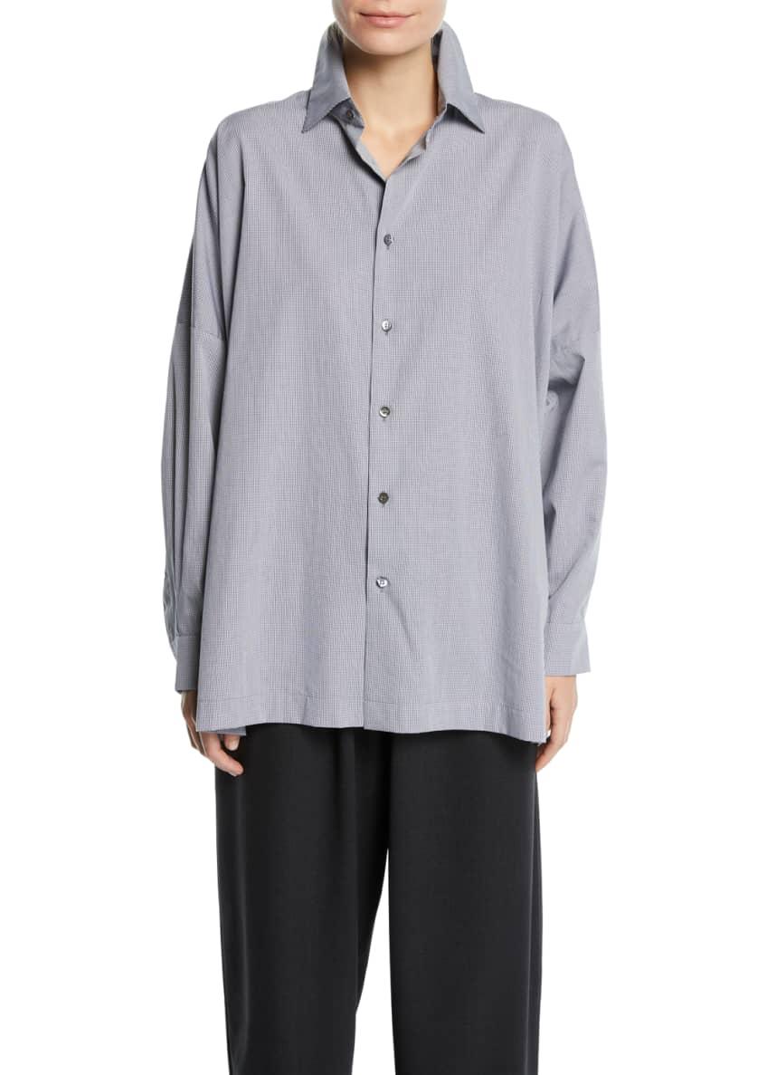 Eskandar Micro-Check Spread-Collar Button-Front Blouse, Black &