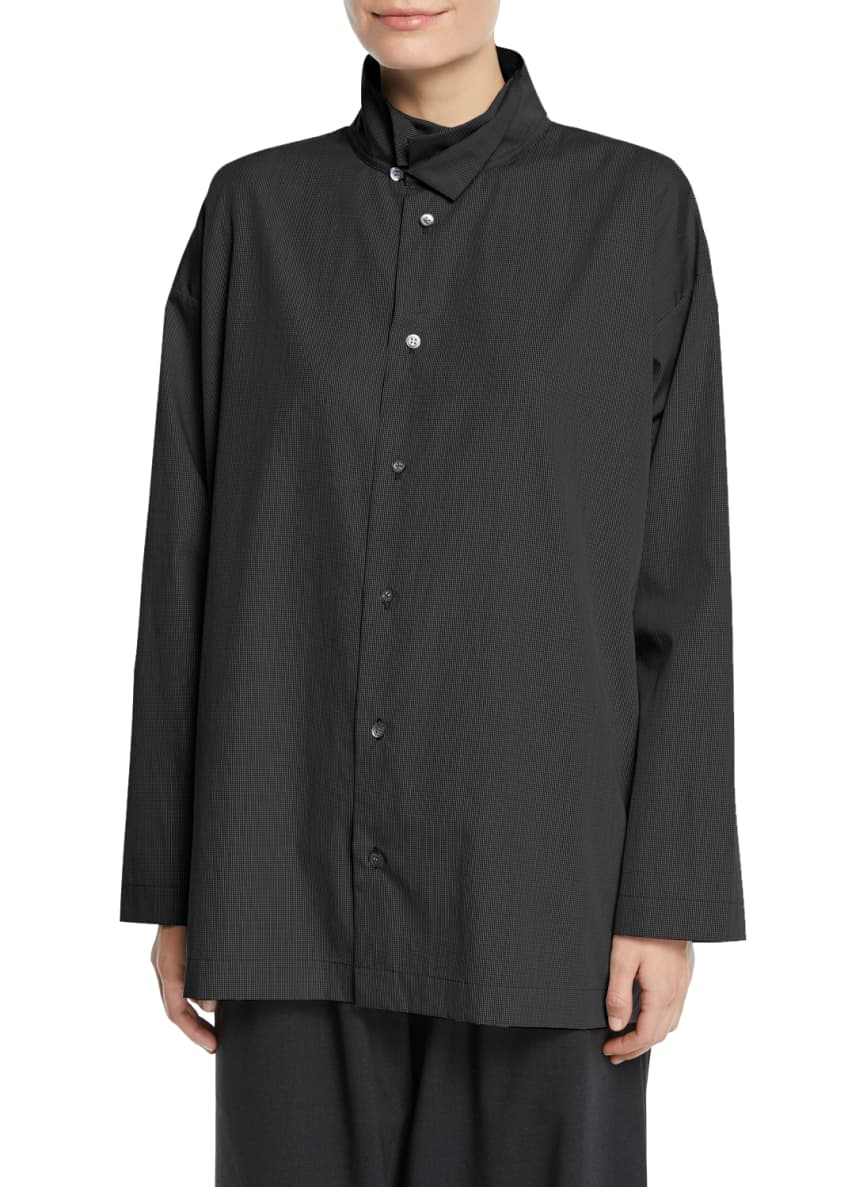Eskandar Micro-Check Double-Collar Button-Front Blouse, Black &