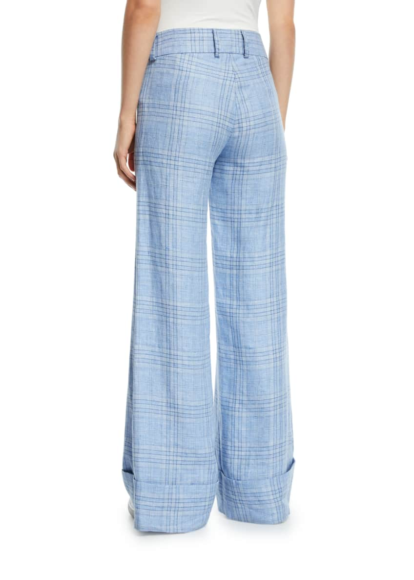 Image 2 of 5: Always Here For You Cuffed Linen Check Pants