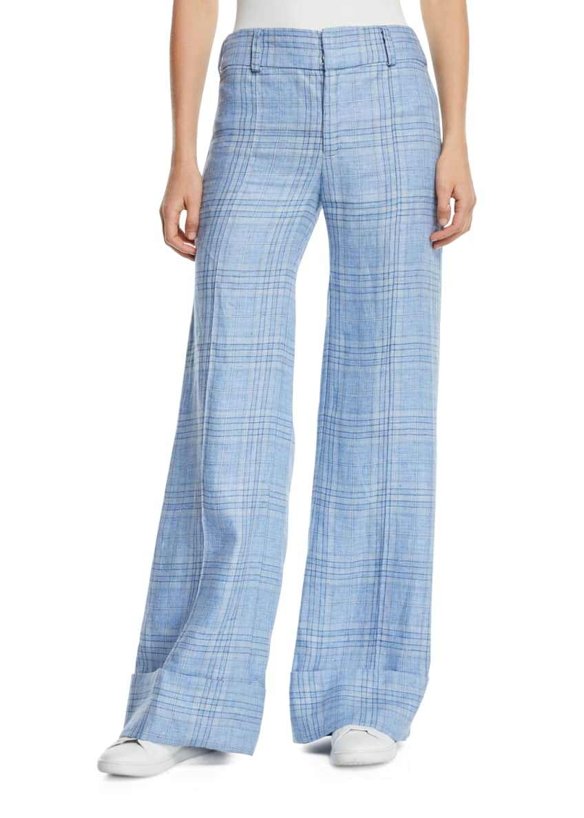 Image 1 of 5: Always Here For You Cuffed Linen Check Pants