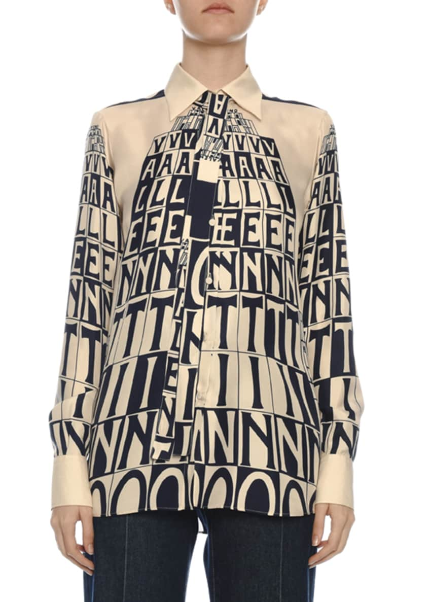 Valentino Logo Tower Print Silk Button-Front Blouse &