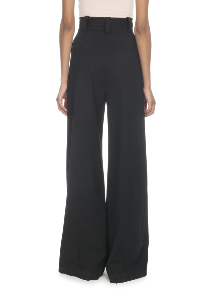 Image 2 of 2: High-Waist Wide-Leg Stretch-Wool Pants