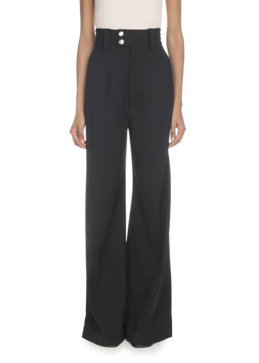 Image 1 of 2: High-Waist Wide-Leg Stretch-Wool Pants