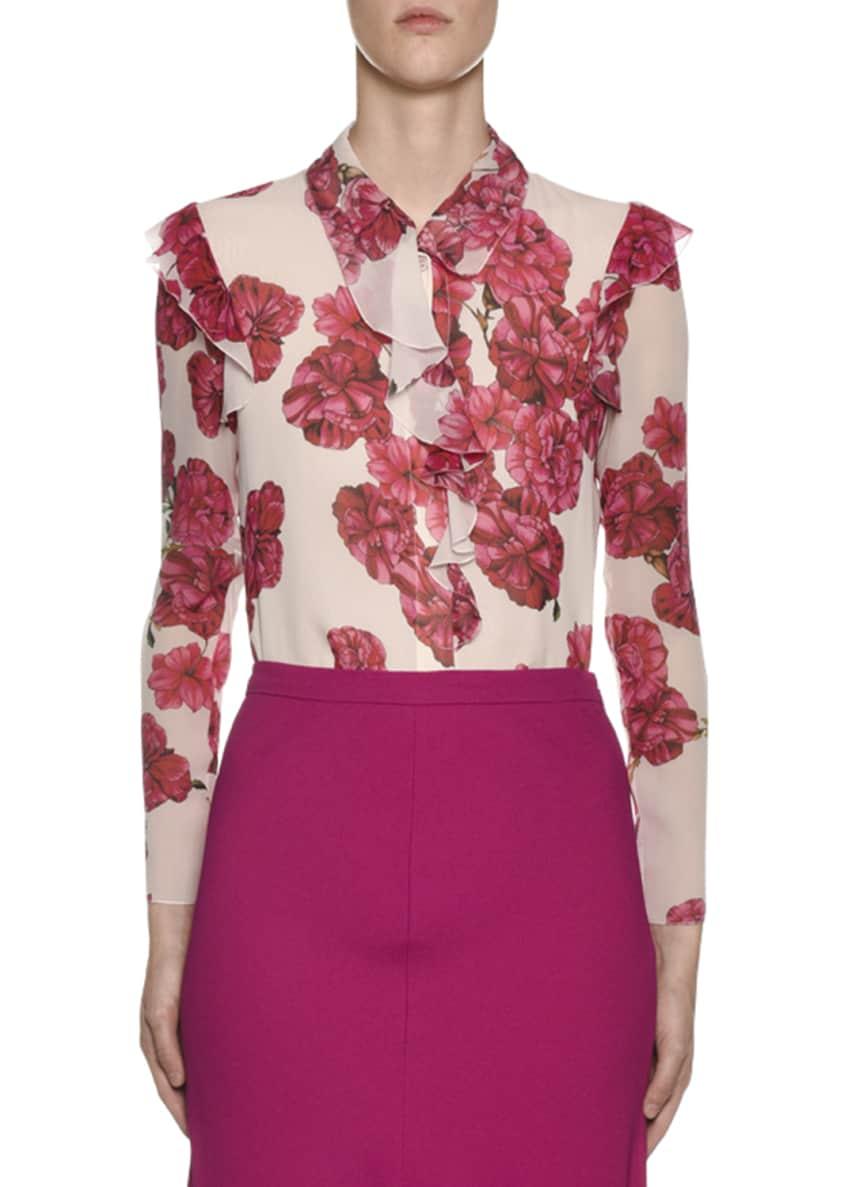 Giambattista Valli Long-Sleeve Ruffled-Trim Floral-Print Silk