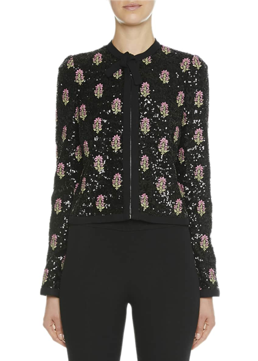 Giambattista Valli Floral-Sequined Bow-Neck Jacket & Matching