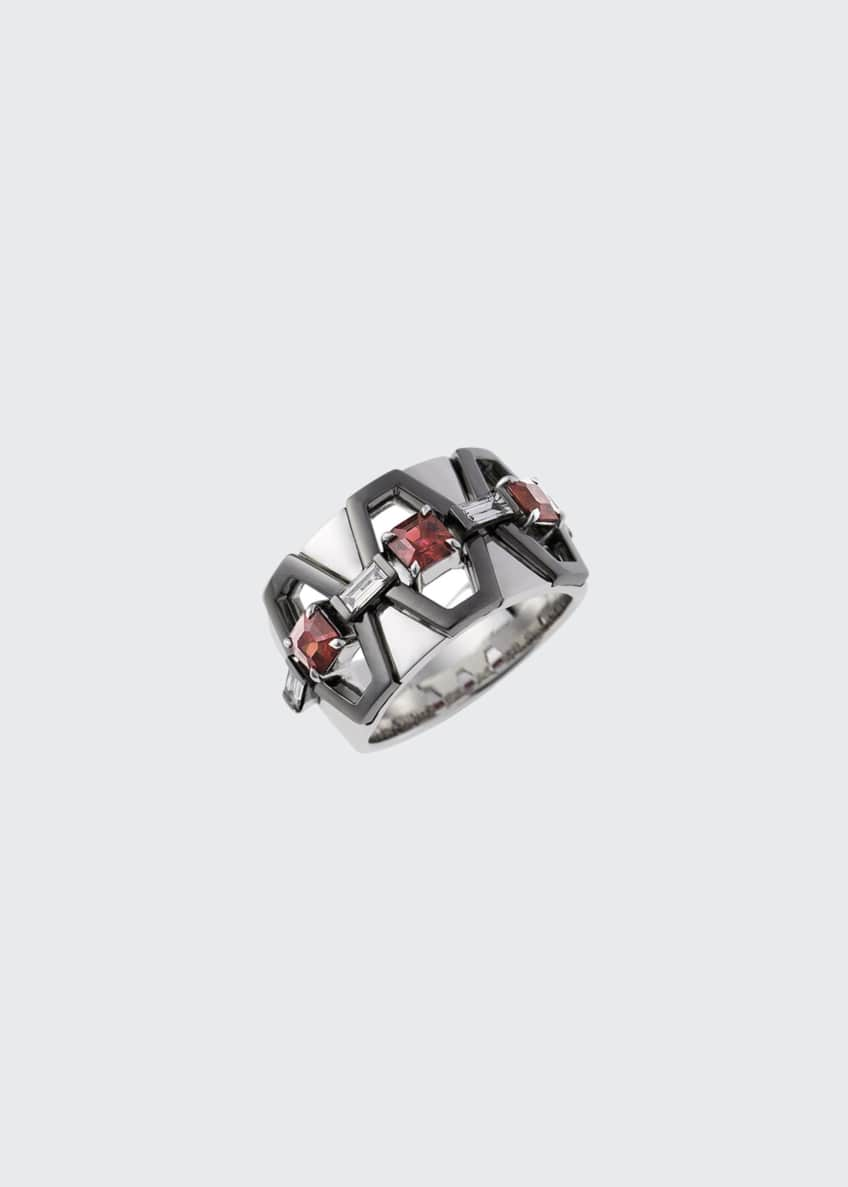 Image 1 of 1: 18k White Gold Fame Ruby/Diamond Cigar Band Ring